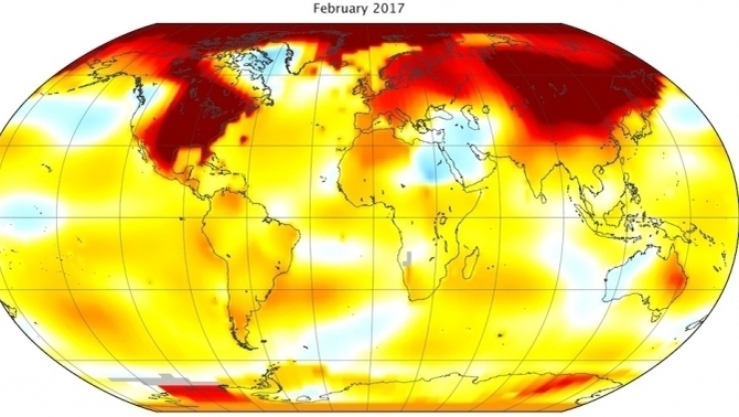 Anomalia de la Tº global del febrer 2017 (NASA)