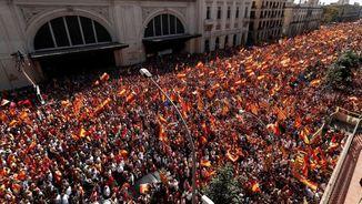 Imatge de l'Avinguda del Marquès d'Argentera, diumenge 8 d'octubre durant la manifestació convocada per SCC