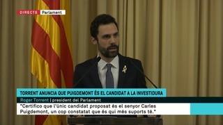 Torrent anuncia que Puigdemont és el candidat a la investidura