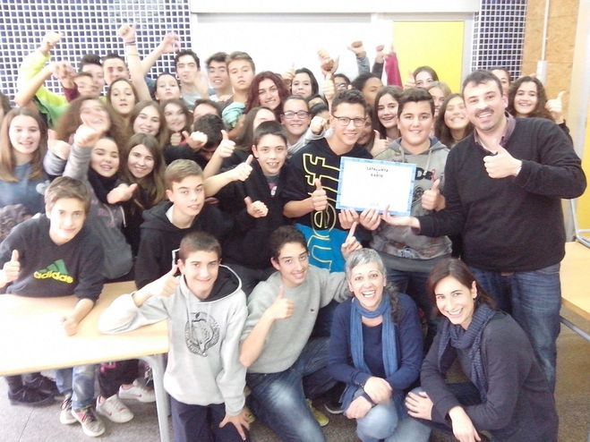 Els alumnes de l'INS Puig-reig, guanyadors optimistes de la setmana del 17 al 24 de novembre, apadrinats pel Vico
