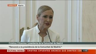 """Cristina Cifuentes: """"Renuncio a la presidència de la Comunitat de Madrid"""""""