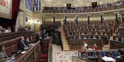 Zapatero intervé en el ple del Congrés on ha anunciat el projecte per reformar la Constitució. (Foto: EFE)