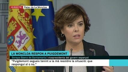 """Sáenz de Santamaría: """"Davant la falta de resposta de Puigdemont, es posa en marxa la segona part del requeriment"""""""