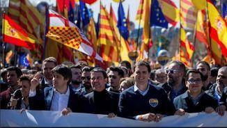 Manuel Valls a la capçalera de la manifestació de SCC a Barcelona