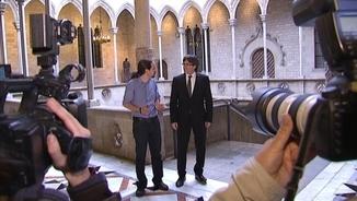 Puigdemont i Iglesias, abans de la reunió