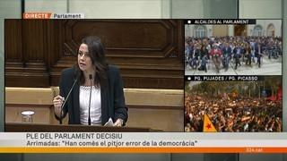 "Inés Arrimadas (Ciutadans): ""Han comès el pitjor error de la democràcia"""