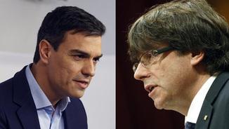 El líder del PSOE, Pedro Sánchez, i el president Carles Puigdemont