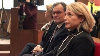 Rigau, Mas i Ortega, al banc dels acusats durant la primera jornada del judici (ACN)