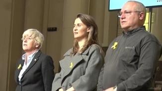 Puigdemont, Comín, Ponsatí, Serret i Puig, en una imatge d'arxiu durant l'acte dels alcaldes a Brussel·les (ACN)