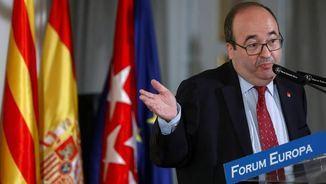 Miquel Iceta durant l'esmorzar informatiu a Madrid (EFE)