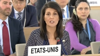 L'ambaixadora dels EUA a l'ONU, Nikki Haley en la intervenció davant el Consell de Drets Humans
