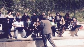 Els alumnes de l'Escola Judicial fan algunes de les clasess a l'exterior de les aules
