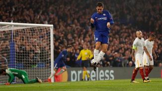 Eden Hazzard celebra el seu gol a la Roma (Reuters)