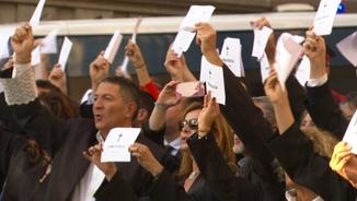 Una protesta de la Coordinadora d'Advocats Catalans, abans de l'1-O davant del Tribunal Superior de Justícia