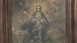 La pintura a l'oli que representa la Immaculada i que no es van endur a Sixena perquè estava perduda