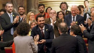 Roger Torrent, aplaudit després de ser escollit president del Parlament