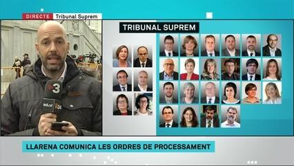 Aquests són els processats per delictes de rebel·lió, desobediència i malversació de fons públics