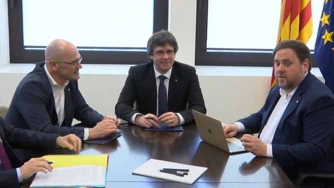 Puigdemont, Junqueras i Romeva, aquest migdia, a la delegació de la Generalitat a Brussel·les