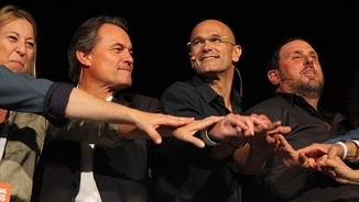 Artur Mas amb Oriol Junqueras, Raül Romeva i Neus Munté