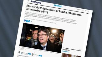 """Notícia sobre l'arribada de Puigdemont a Dinamarca publicada al """"Berlingske"""""""