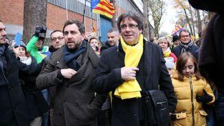 Carles Puigdemont i Toni Comín a la manifestació a Brussel·les del desembre (ACN)