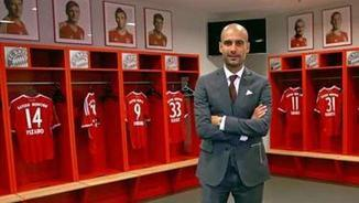 Guardiola. L'any 2013, posa al vestidor de l'Allianz Arena (Font: FC Bayern)