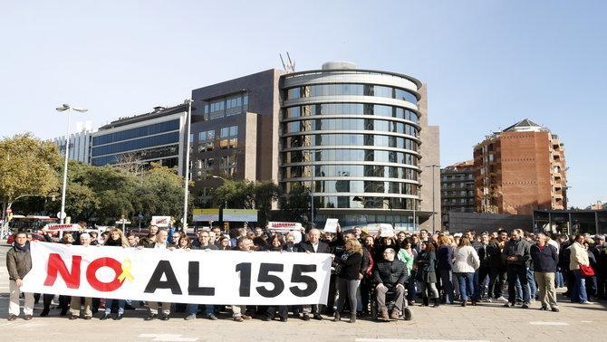 Treballadors de Territori es manifesten en contra del 155 i per demanar l'alliberament dels consellers empresonats