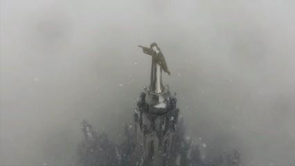 La nevada al Tibidabo a vista de dron