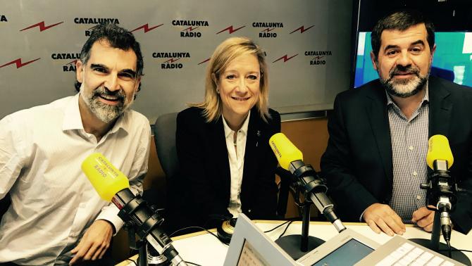Jordi Cuixart (Òmnium), Neus Lloveras (AMI) i Jordi Sànchez (ANC)