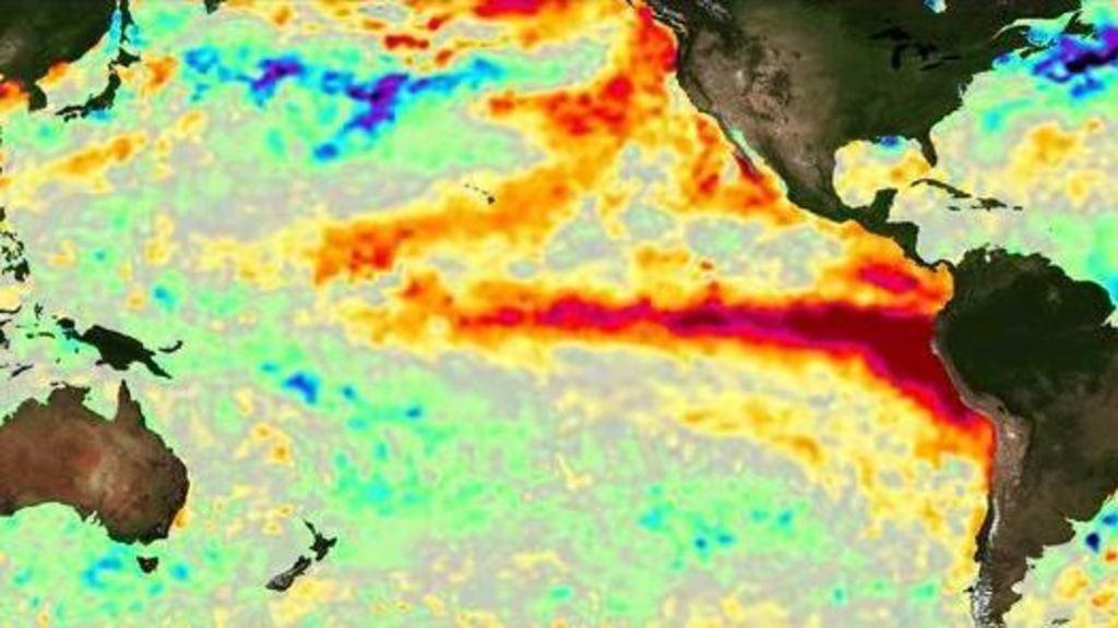 """Anomalia de la temperatura del mar amb """"Niño"""" (NASA_JPL_PODAAC)"""