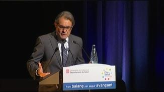 Artur Mas durant la seva intervenció en el balanç del Pla de Salut 2011-2015 de la Generalitat, a Sitges
