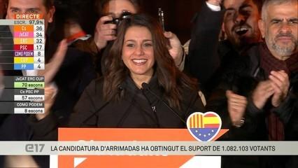 """Arrimadas (Cs): """"Hem guanyat les eleccions al Parlament de Catalunya"""""""
