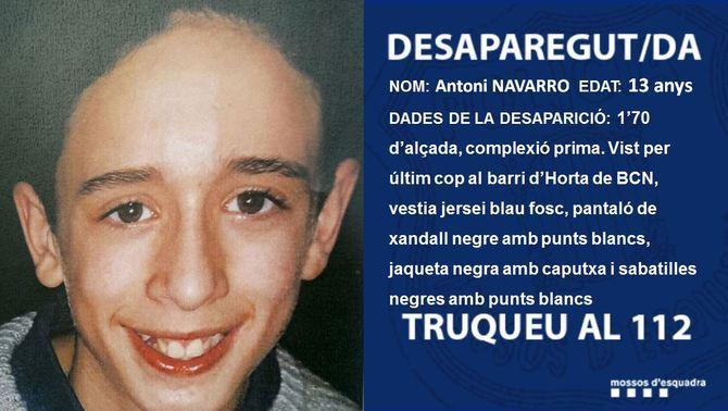 Busquen un noi de 13 anys desaparegut a Barcelona