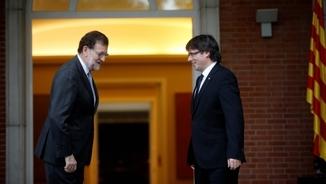 Rajoy i Puigdemont en la reunió del 20 d'abril del 2016 a la Moncloa.