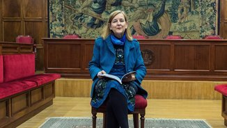María Elósegui, nova jutgessa del Tribunal d'Estrasburg, aquest dimecres a Saragossa (EFE)