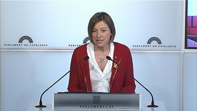 Carme Forcadell en la roda de premsa on ha dit que no repetirà com a presidenta del Parlament
