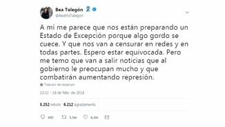Tweet de Beatriz Talegón