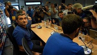 Ernesto Valverde en roda de premsa amb el Barça