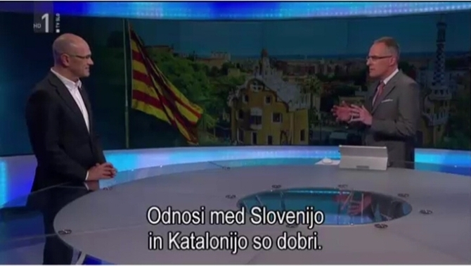 La televisió eslovena entrevista Romeva en català en horari de màxima audiència