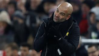 Pep Guardiola durant el partit contra el Liverpool (Reuters)