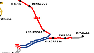 Ruta de la C-53 a Anglesola, on hi ha hagut l'accident