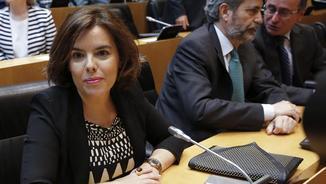 Soraya Sáenz de Santamaría, aquest dimarts, durant l'acte d'homenatge a les víctimes del terrorisme al Congrés dels Diputats (EFE)