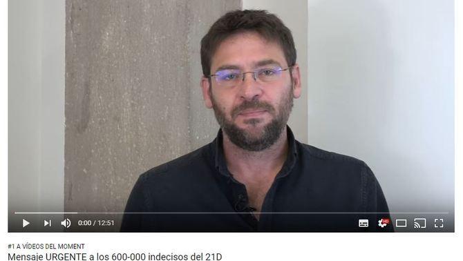 Un vídeo de Dante Fachin als indecisos supera les 670.000 visites en tres dies