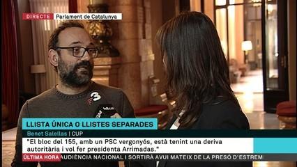 """Benet Salellas (CUP): """"Estem vivint un estat d'excepció en aquest moments"""""""