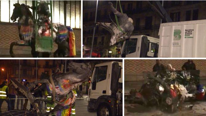 L'Ajuntament retira l'estàtua de Franco del Born després que un grup de joves l'ha tirat a terra