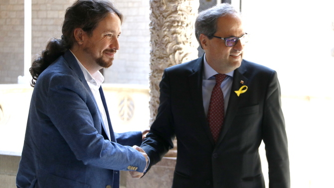 El president Torra rep Pablo Iglesias, que vol mediar entre governs