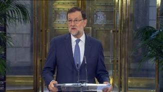 El president espanyol en funcions, Mariano Rajoy, després de reunir-se amb Albert Rivera