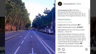 Captura de la foto que Puigdemont ha publicat a Instagram