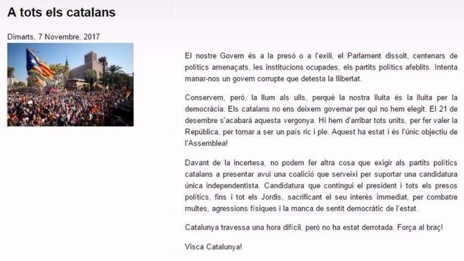 """L'ANC exigeix una """"candidatura única"""" amb Puigdemont i """"tots els presos polítics"""""""