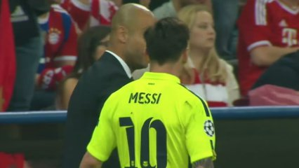 Messi i Guardiola se saluden al descans